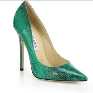 Jimmy Choo Green Anouk Snakeskin pointed-toe pumps